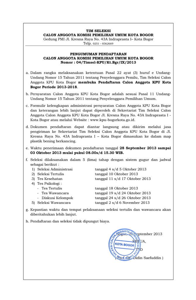 Pengumuman Pendaftaran Calon Anggota KPU Kota Bogor Periode 2013 - 2018
