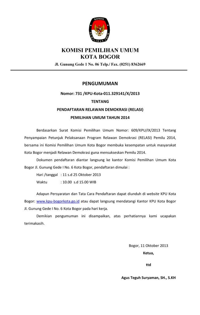 PENDAFTARAN RELAWAN DEMOKRASI (RELASI) PEMILIHAN UMUM TAHUN 2014