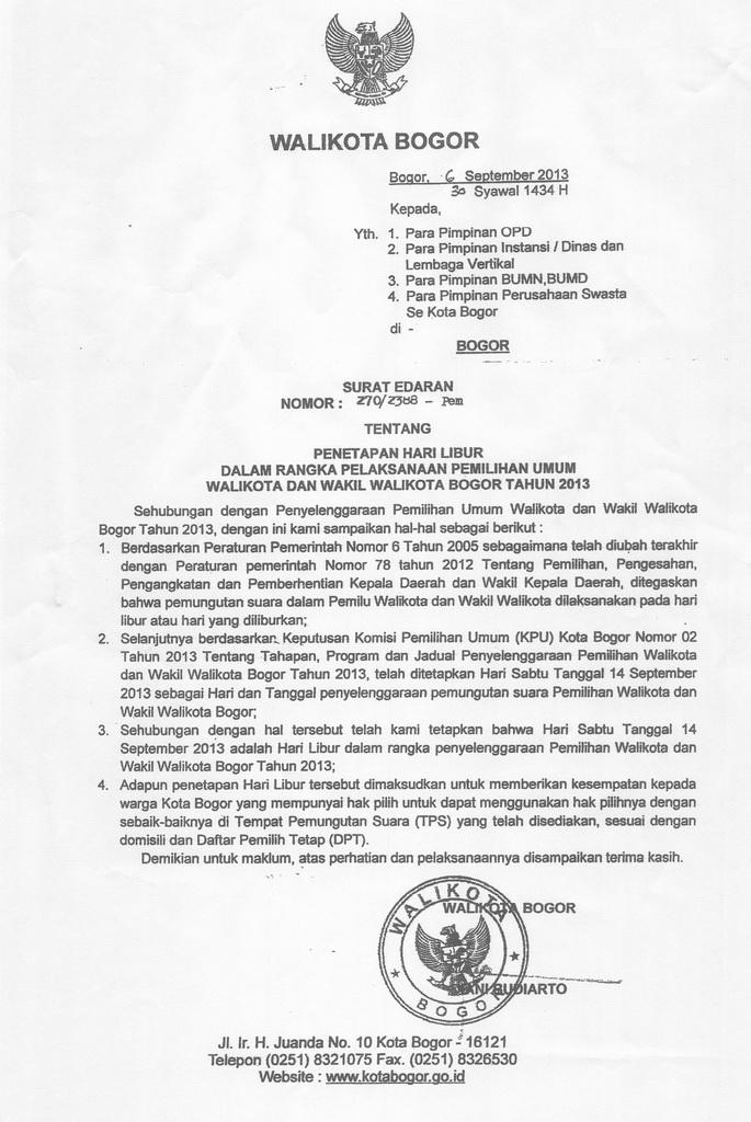 Surat Edaran Walikota Bogor