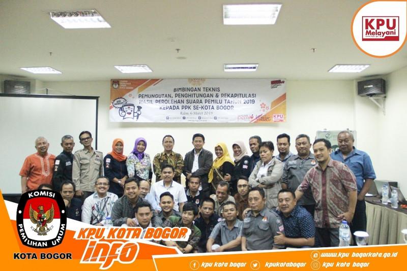 PPK Se-Kota Bogor Ikuti Bimtek Penghitungan dan Hasil Rekapitulasi Pemungutan Suara
